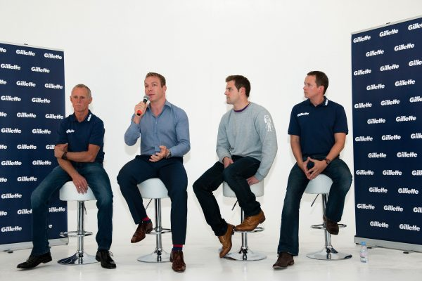 Cycling legend Sir Chris Hoy and World Record holder Liam Tancock pose alongside British CyclingÕs Performance Manager Shane Sutton and British Swimming coach Ben Titley at GilletteÕs Great Starts coaching grants event.  The event marks the conclusion of GilletteÕs 2012 campaign which aimed to celebrate coaches and inspire the next generation of coaches by providing grants for coaching courses. Pictured L to R:  British CyclingÕs Performance Manager Shane Sutton,  Sir Chris Hoy, Liam Tancock and British Swimming coach Ben Titley  - Photo mandatory by-line: Phil Mingo/Pinnacle/Gillette - Tel: +44(0)1363 881025 - Mobile:0797 1270 681 - VAT Reg No: 768 6958 48 - 21/09/2012 - The Gillette ÔGreat StartÕ Campaign - Icetank, Grape Street, London